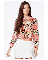 Missguided - Multicolor Oprah Neon Floral Cropped Shirt - Lyst