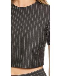 Torn By Ronny Kobo | Gray Dugan Pinstripe Crop Top - Heather Charcoal Stripe | Lyst
