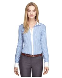 Brooks Brothers - Blue Non-iron Tailored Fit Wide Stripe Dress Shirt - Lyst