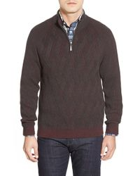 Tommy Bahama - Brown 'napa Ridge' Half Zip Jacquard Sweater for Men - Lyst