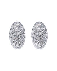 Caroline Creba | Metallic Rhodium Plated Titania Pave Oval Stud Earrings | Lyst