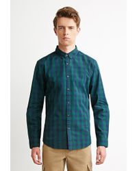 Forever 21 - Green Checked Plaid Shirt for Men - Lyst