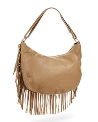 Kensie | Brown Fringed Faux Leather Hobo Bag | Lyst