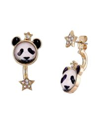 Betsey Johnson | Black Costume Critters Panda Front Back Earrings | Lyst