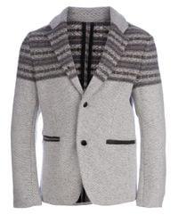Side Slope - Gray Knitted Jacket for Men - Lyst