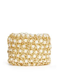 Kenneth Jay Lane | Metallic Chain And Pearl Elasticated Bracelet | Lyst