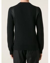 Lanvin - Black Panel Detail Sweater for Men - Lyst