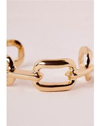 Missguided - Metallic Linked Cuff Gold - Lyst