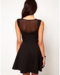 ASOS - Black Skater Dress With Mesh Inserts - Lyst