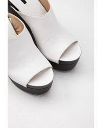 Forever 21 - White Faux Leather Platform Wedges - Lyst