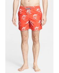 Vilebrequin | Orange Moorea Swordfish-Print Swim Trunks for Men | Lyst