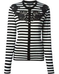 Dolce & Gabbana - Black Lace Detail Striped Cardigan - Lyst