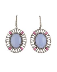 Bavna | Metallic Sterling Silver Oval Chalcedony With Champagne Rose Cut Diamonds And | Lyst