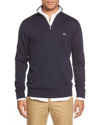 Lacoste | Blue Quarter Zip Pullover Sweater for Men | Lyst