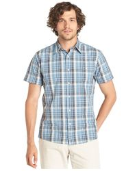 G.H. Bass & Co. - Blue Cascade Plaid Poplin Short Sleeve Shirt for Men - Lyst