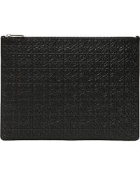 Loewe | Black Logo-engraved Large Flat Leather Pouch | Lyst
