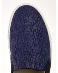 Lanvin - Blue Snake-Effect Leather Slip-On Trainers - Lyst