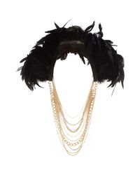 River Island - Black Drape Feather Chain Necklace - Lyst