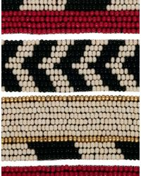 ASOS | Multicolor Seed Bead Stripe Cuff Bracelet | Lyst