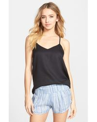 RVCA - Black 'night Flight' Overdye Strappy Back Tank - Lyst