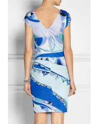Emilio Pucci - Blue Printed Jersey Dress - Lyst