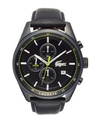 Lacoste | Black 'dublin' Chronograph Leather Strap Watch for Men | Lyst