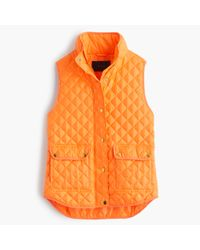 J.Crew - Orange Petite Shiny Quilted Field Puffer Vest - Lyst