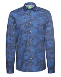 BOSS Green | Blue 'bersh' | Slim Fit, Stretch Cotton Button Down Shirt for Men | Lyst