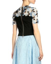 Erdem - Blue Emiko Floral-lace Crop Top - Lyst