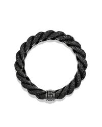 David Yurman - Black Hampton Cable Bracelet With Diamonds - Lyst