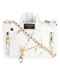 Moschino | White Biker Leather Shoulder Bag | Lyst