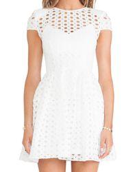 Nicholas - White Circle Lace Cap Sleeve Dress - Lyst