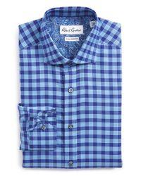 Robert Graham - Blue 'sanpietro' Tailored Fit Check Dress Shirt for Men - Lyst
