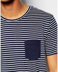 SELECTED | Blue Stripe T-shirt With Contrast Pocket for Men | Lyst