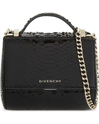 Givenchy | Black Pandora Box Snake-skin Shoulder Bag | Lyst