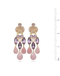 Bounkit | Amethyst, Rose Quartz & Pink Opal Chandelier Earrings | Lyst