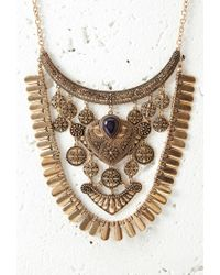 Forever 21 - Blue Etched Charm Statement Necklace You've Been Added To The Waitlist - Lyst