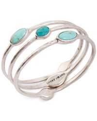 Lucky Brand - Metallic Silver-tone Turquoise Bangle Bracelet Set - Lyst