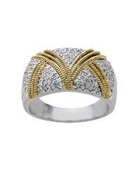 Lord & Taylor | Metallic Sterling Silver With 14Kt Yellow Gold Diamond Ring | Lyst