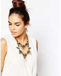 Little Mistress - Metallic Statement Double Row Necklace - Lyst