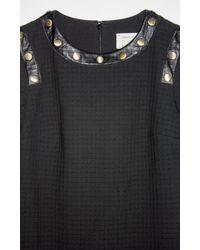 Nicole Miller - Black Textured Squares Long Sleeve Dress - Lyst