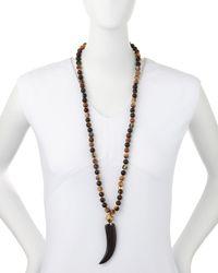 Nest | Black Beaded Horn Pendant Necklace | Lyst