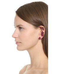 Oscar de la Renta - Purple Navette Crystal Cuff Earrings - Fuchsia - Lyst