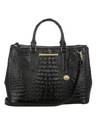 Brahmin | Black Lincoln Embossed Leather Satchel | Lyst
