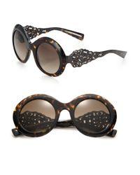 Dolce & Gabbana - Black Filigree 51mm Round Sunglasses - Lyst