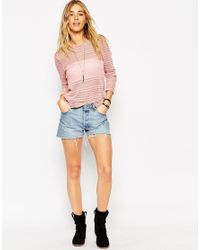 ASOS - Pink Top With Long Sleeves And Twist Back In Laddered Fabric - Lyst