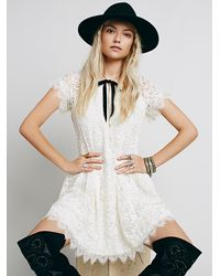 Free People | Natural Stardust Lace Mini Dress | Lyst