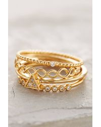 Anthropologie | Metallic Janina Stacked Rings | Lyst