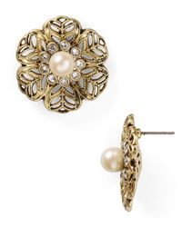 Carolee - Metallic Little Surfer Girl Floral Stud Earrings - Lyst