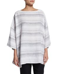 Eskandar - Gray 3/4-sleeve Striped Linen Tunic - Lyst